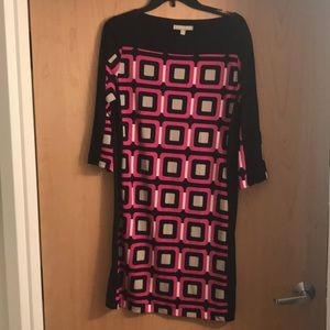 Pink and Blue Dress. 3/4 sleeve . m